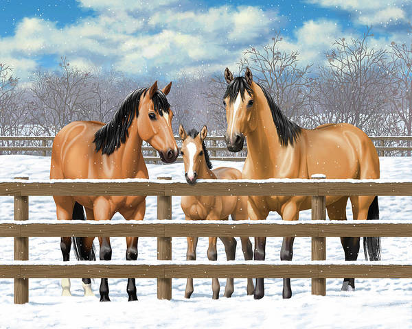 Wall Art - Painting - Buckskin Quarter Horses In Snow by Crista Forest