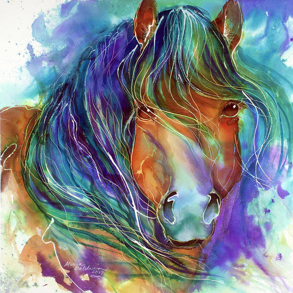 Painting - Bucky The Mustang In Watercolor by Marcia Baldwin