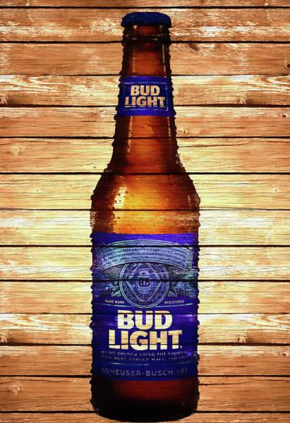 Drunk Mixed Media - Bud Light Bottle Rustic by Dan Sproul