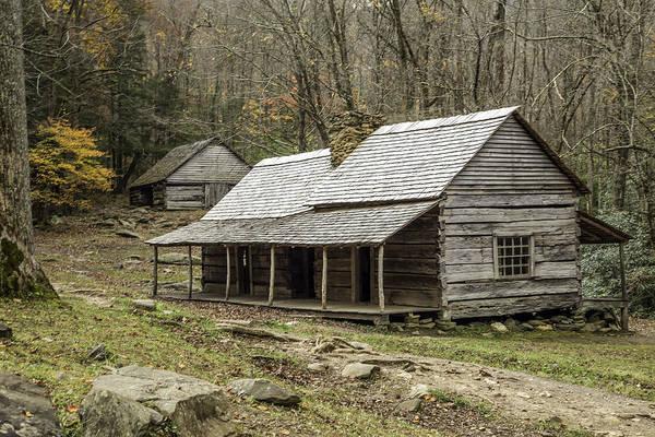 Photograph - Bud Ogle Cabin 01 by Jim Dollar
