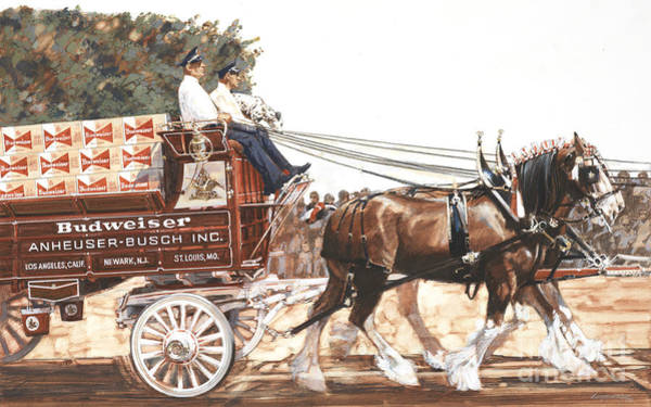 Wall Art - Painting - Bud Wagon And Horses by Don Langeneckert
