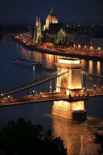 Chain Bridge Photograph - Budapest At Dusk by Joe Burns
