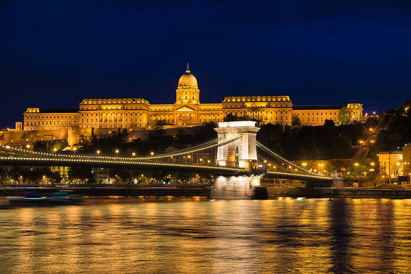 Photograph - Budapest At Night - Chain Bridge And Buda Castle by Matthias Hauser