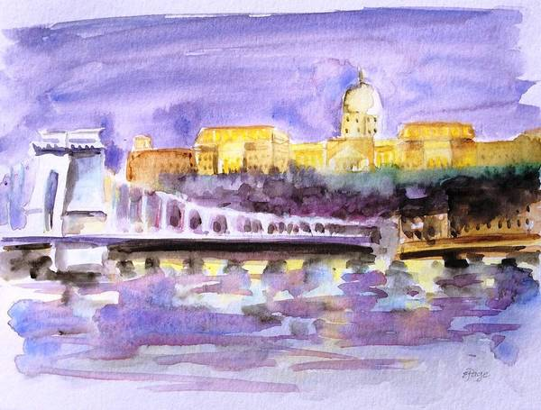 Painting - Budapest At Night by Emily Page