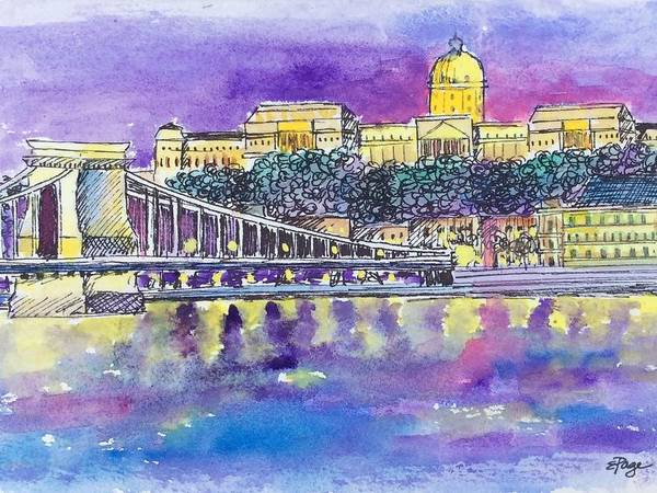 Painting - Budapest At Night II by Emily Page