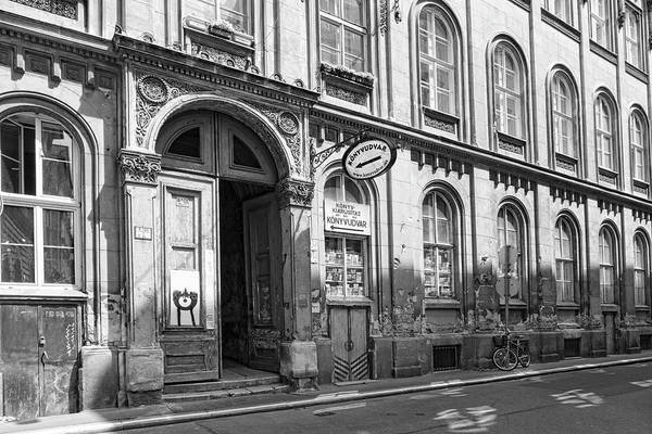 Photograph - Budapest Bookstore Bw by Sharon Popek