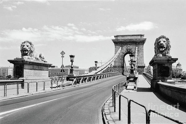 Donau Photograph - Budapest Chain Bridge In Black And White by Dean Harte
