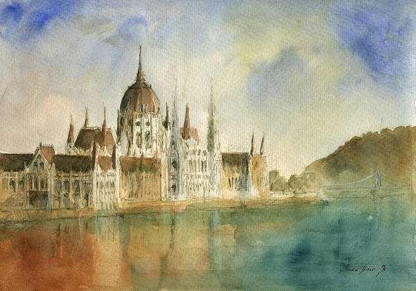 Wall Art - Painting - Budapest Cityscape by Juan Bosco