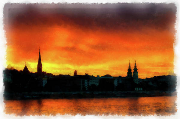 Painting - Budapest Sunset Skyline Watercolor Painting by Matthias Hauser