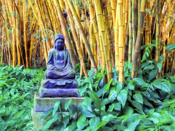 Painting - Buddha And Bamboo At Allerton Garden Kauai by Dominic Piperata