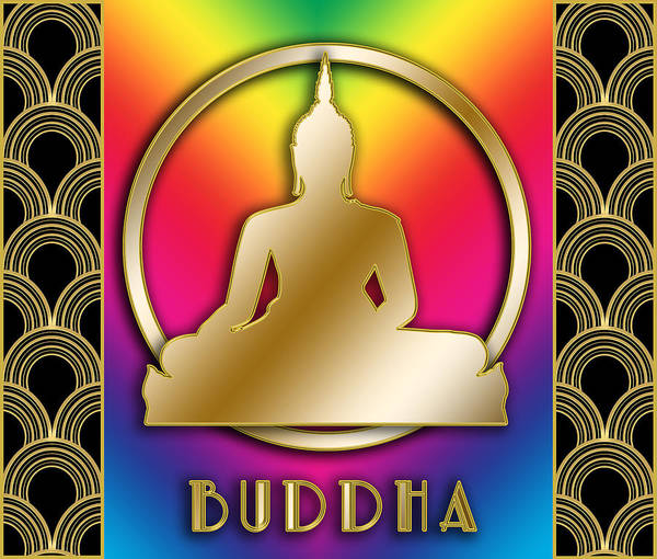 Digital Art - Buddha And Circle - Rainbow by Chuck Staley
