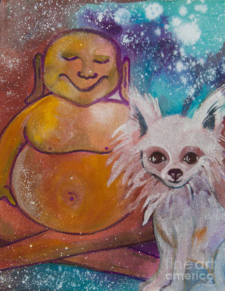 Pomeranian Painting - Buddha And The Divine Pomeranian No. 1323 by Ilisa Millermoon