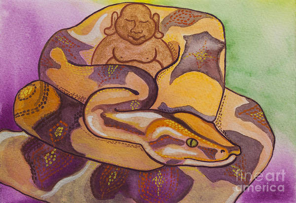 Boa Painting - Buddha And The Divine Boa Constrictor No. 2277 by Ilisa Millermoon