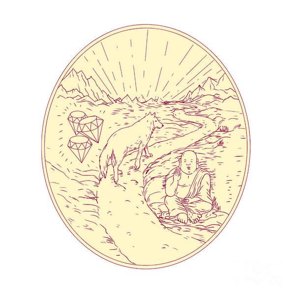 Gautama Digital Art - Buddha And Wolf On Road Diamonds Drawing by Aloysius Patrimonio