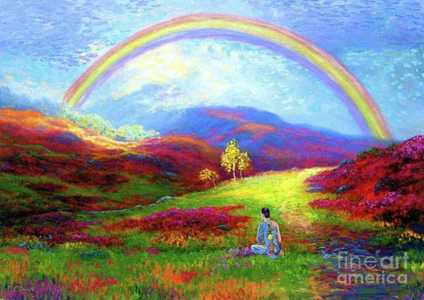 Field Of Flowers Wall Art - Painting - Buddha Chakra Rainbow Meditation by Jane Small