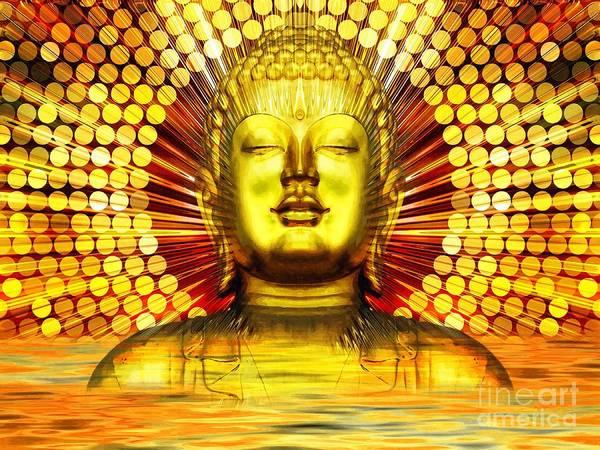 Temple Mixed Media - Buddha Effulgence by Khalil Art