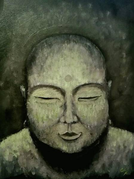 Painting - Buddha In Green by Carole Hutchison