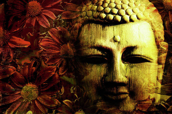 Wall Art - Photograph - Buddha In Red Chrysanthemums by Skip Nall