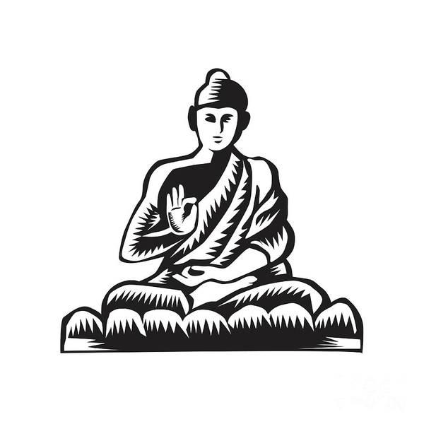 Gautama Digital Art - Buddha Lotus Pose Woodcut by Aloysius Patrimonio
