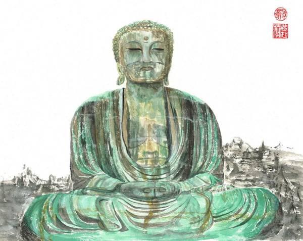 Wall Art - Painting - Buddha Of Kamakura Statue by Terri Harris