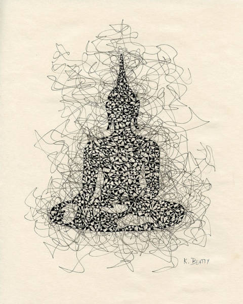 Boddhisatva Wall Art - Drawing - Buddha Pen And Ink Drawing by Karla Beatty