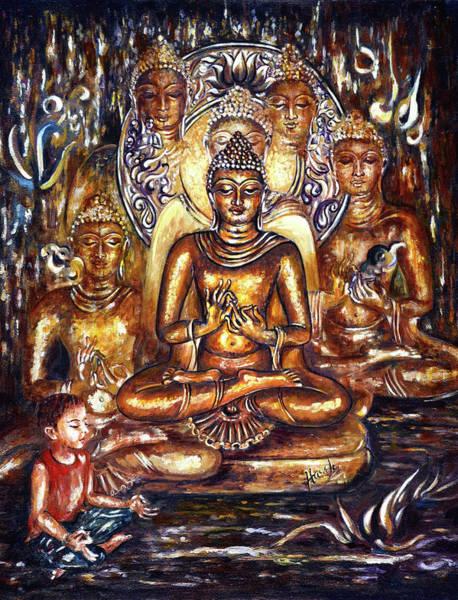 Yogic Wall Art - Painting - Buddha Reflections by Harsh Malik