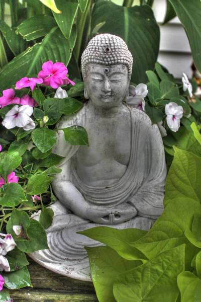 Mediation Photograph - Buddha Statue Peace Zen Soto Garden Flower by Jane Linders