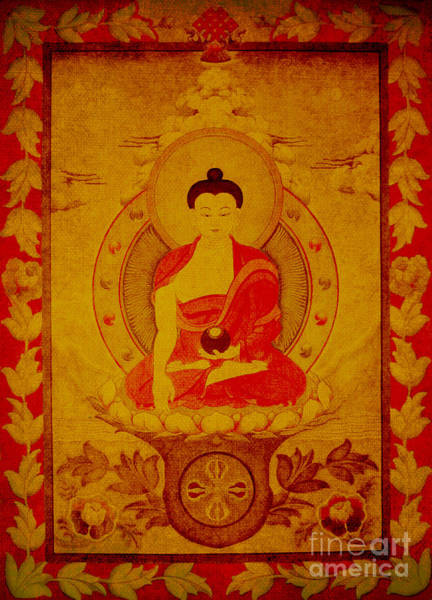 Drawing - Buddha Tapestry Gold by Alexa Szlavics