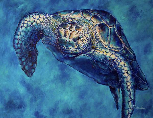Us Virgin Islands Painting - Buddha -the Caribbean Green Turtle by Paulene Edwards