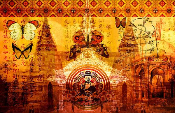 Mosque Digital Art - Buddha With Butterflies by Tammy Wetzel