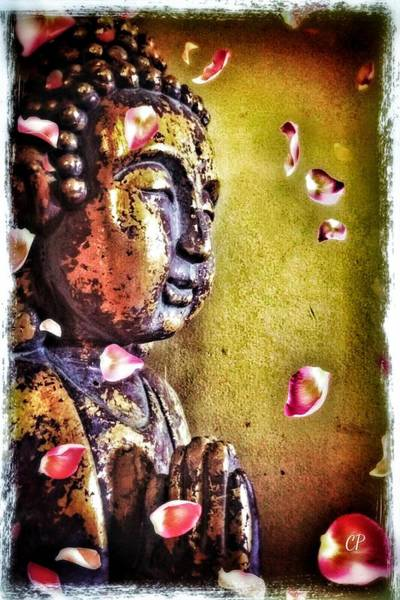 Photograph - Buddha With Flower Petals by Christine Paris