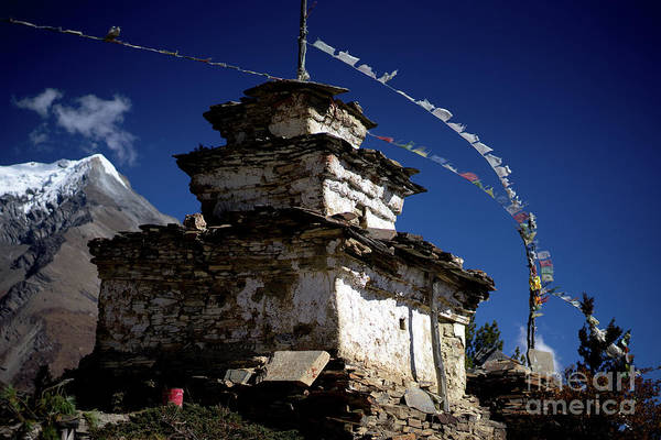 Wall Art - Photograph - Buddhist Gompa And Prayer Flags In The Himalaya Mountains, Nepal by Raimond Klavins