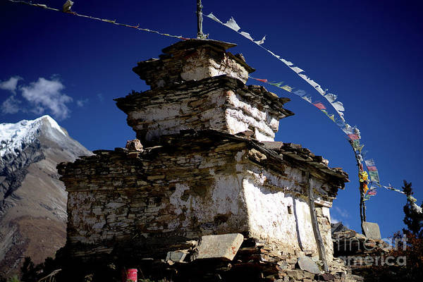 Wall Art - Photograph - Buddhist Gompa And Prayer Flags In The Himalaya Range, Annapurna Region, Nepal by Raimond Klavins