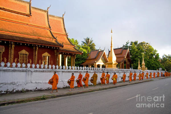 Wall Art - Photograph - Buddhist Monks In Luang Prabang Laos by Julia Hiebaum
