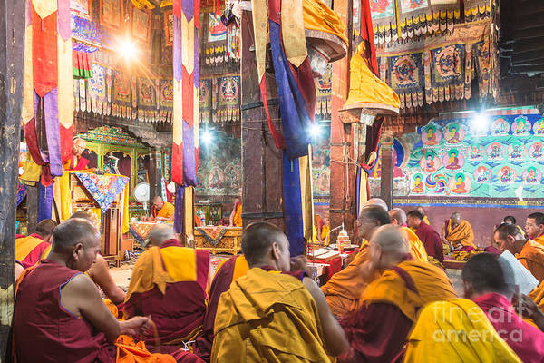 Photograph - Buddhist Monks Praying In Thiksay Monastery by Didier Marti