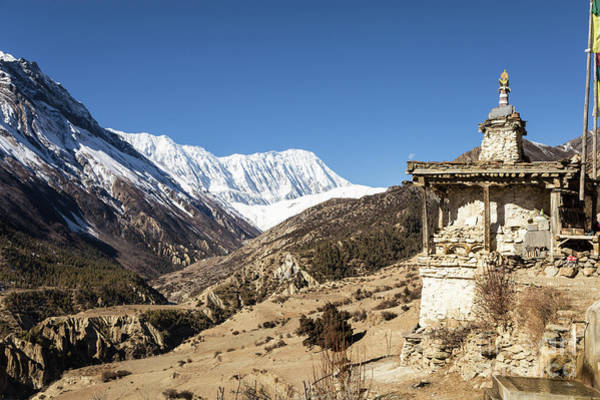 Photograph - Buddhist Stupa On The Annapurna Circuit Trek In The Himalayas In by Didier Marti