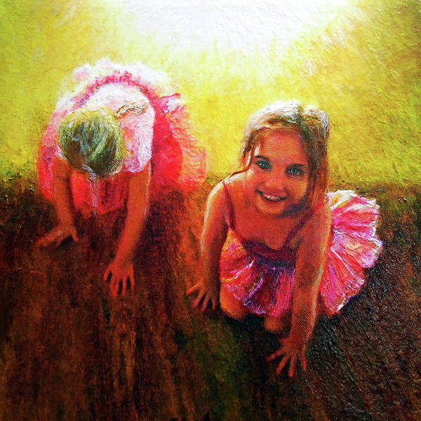 Granddaughter Painting - Budding Ballerinas by Michael Durst