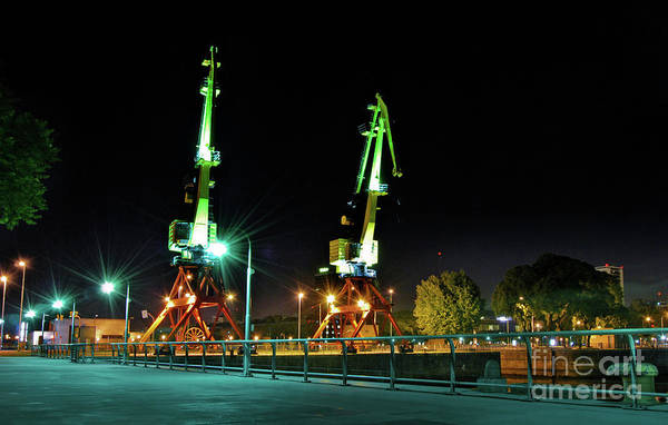 Photograph - Buenos Aires - Argentina - Cranes Of Puerto Madero At Night by Carlos Alkmin
