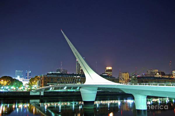 Buenos Aires - Argentina - Puente De La Mujer At Night Art Print