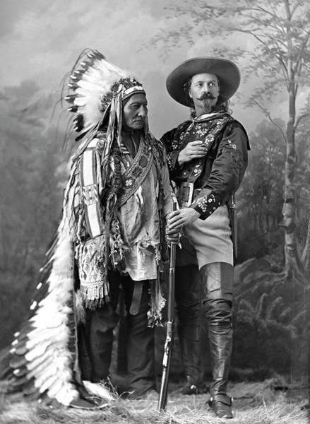 Wall Art - Photograph - Buffalo Bill Cody And Chief Sitting Bull C. 1890 by Daniel Hagerman