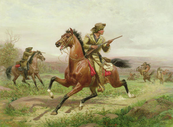 Gunfight Wall Art - Painting - Buffalo Bill Fighting The Indians by Louis Maurer