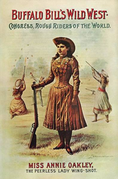Buffalo Mixed Media - Buffalo Bill's Wild West Show - Miss Annie Oakley - Vintage Event Advertising Poster by Studio Grafiikka