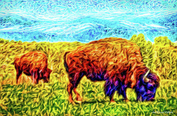 Digital Art - Buffalo By The Mountain - Colorado Front Range Bison by Joel Bruce Wallach