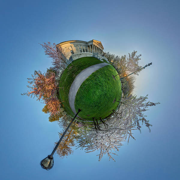 Photograph - Buffalo Cherry Blossoms - Tiny Planet No 3 by Chris Bordeleau