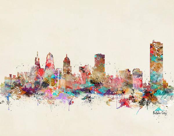 Nyc Skyline Painting - Buffalo City  by Bri Buckley