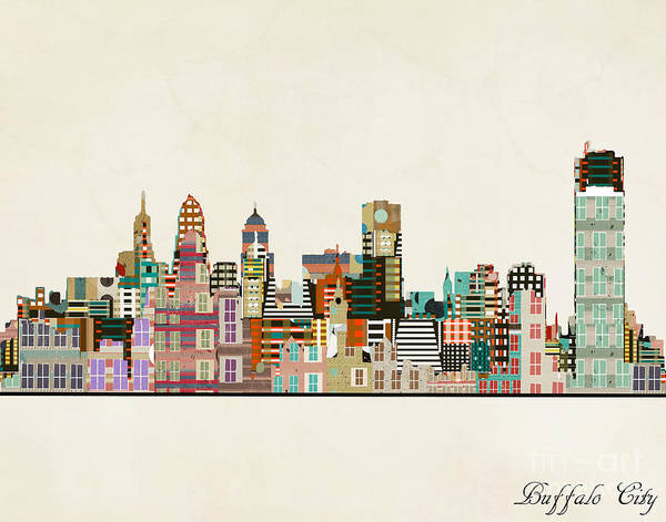 Wall Art - Painting - Buffalo City New York by Bri Buckley