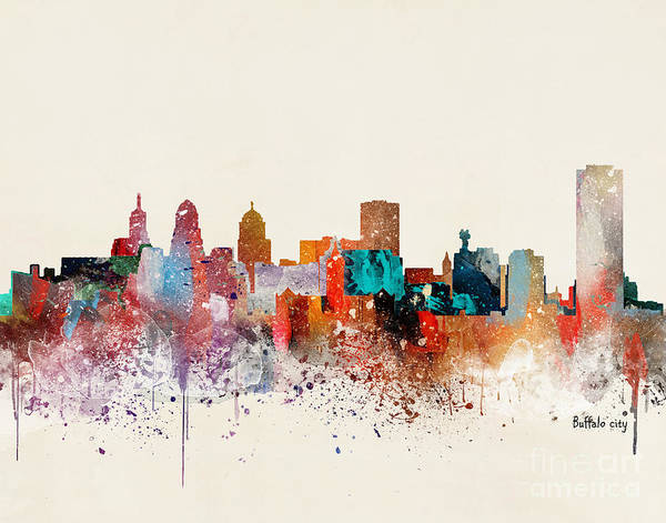 Wall Art - Painting - Buffalo City Skyline by Bri Buckley