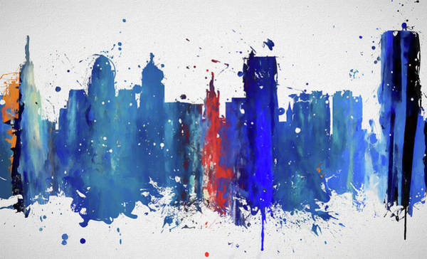 Wall Art - Painting - Buffalo Colorful Skyline by Dan Sproul