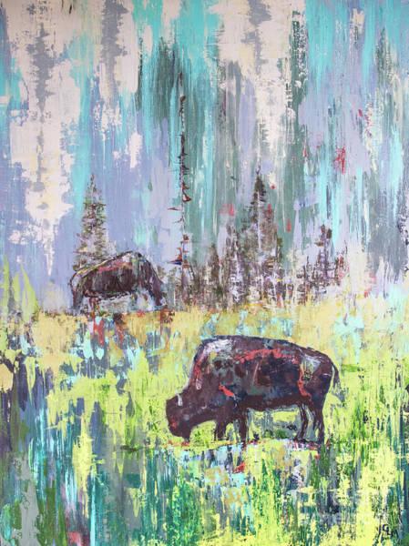 Buffalo Grazing Art Print