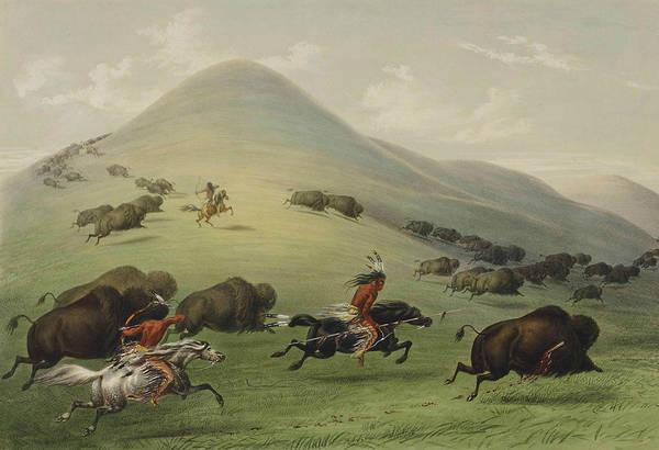 Hunt Wall Art - Relief - Buffalo Hunt by George Catlin